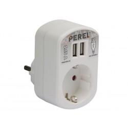 SIMPLE PRISE ELECTRIQUE AVEC CHARGEUR USB - 2 PORTS - 3.15 A -