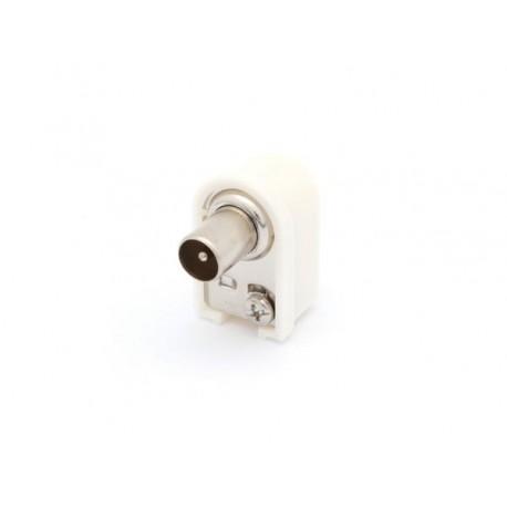 FICHE COAX MALE COUDEE 9.5mm/2.3mm - BLANC