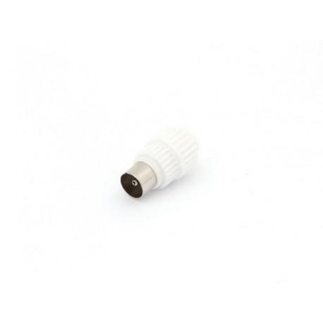 FICHE COAX MALE TV 9.5mm / 2.3mm PLASTIQUE BLANC
