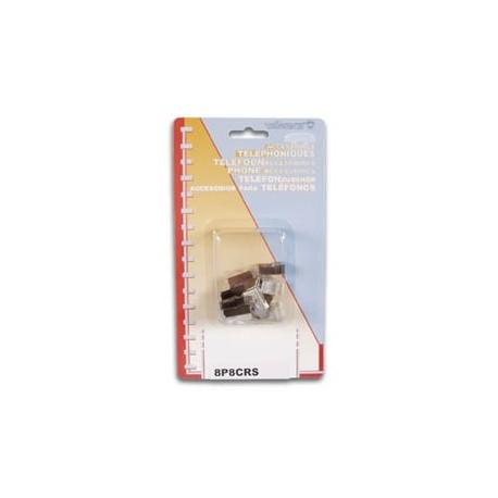FICHE MODULAIRE RJ45 8P8C POUR CABLES RONDS BLINDES. 10 pcs EN BLISTER