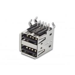 USB A FEMELLE. DOUBLE CONNECTEUR 90o. POUR CI
