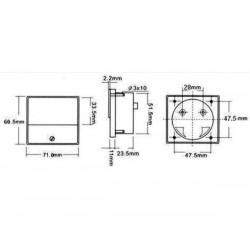 VOLTMETRE ANALOGIQUE DE TABLEAU 50V CC / 70 x 60mm