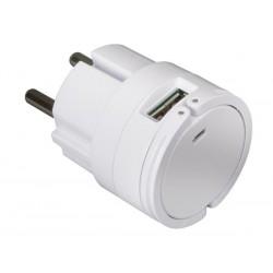 CHARGEUR COMPACT AVEC DOUBLE CONNEXION USB 5 V - 2.1 A MAX. (2.1 A OU 2 x 1 A) - BLANC
