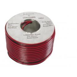 CABLE HAUT-PARLEUR CCA - 2 x 2.50mm² - ROUGE/NOIR - BOBINE : 100m