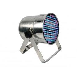 PROJECTEUR LED PAR64 PROFESSIONNEL - MODELE COURT - CHROME - DOUBLE SUPPORT - 177 LED DE 10mm