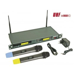 DOUBLE MICROPHONE PLL UHF SANS FIL A 8 CANAUX AVEC AFFICHEUR LCD
