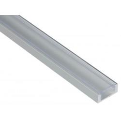 PROFILE EN ALUMINIUM POUR FLEXIBLES LED - PLAT - DIFFUSEUR TRANSPARENT - 2 m