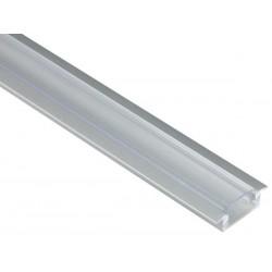 PROFILE EN ALUMINIUM POUR FLEXIBLES LED - A ENCASTRER - HAUTEUR 7 mm - DIFFUSEUR TRANSPARENT - 2 m