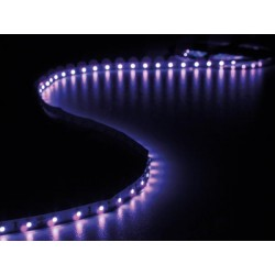 ENSEMBLE DE BANDE A LED FLEXIBLE ET ALIMENTATION - ULTRAVIOLET - 300 LED - 5 m - 12Vcc - SANS REVETEMENT
