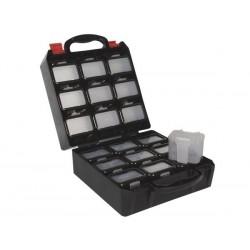 COFFRET A OUTILS EN PLASTIQUE AVEC 18 COMPARTIMENTS DE RANGEMENT CLIPSABLES POUR CEINTURE