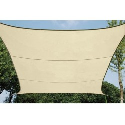 VOILE SOLAIRE PERMEABLE - CARRE - 3.6 x 3.6 m - COULEUR : CHAMPAGNE