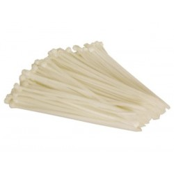 COLLIERS DE SERRAGE EN NYLON - 4.8 x 200 mm - BLANC (100 pcs)