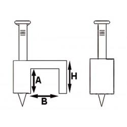 CLIP DE FIXATION PLAT. GRIS. 8 mm (100 pcs/boite)