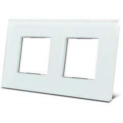 double plaque de recouvrement en verre pour BTicino® LivingLight. blanc